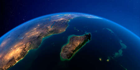 Planet Earth with detailed exaggerated relief at night lit by the lights of cities. Africa and Madagascar. 3D rendering. Stock fotó