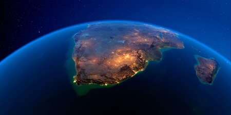 Planet Earth with detailed exaggerated relief at night lit by the lights of cities. South Africa. 3D rendering.