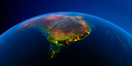 Planet Earth with detailed exaggerated relief at night lit by the lights of cities. Australia and Tasmania. 3D rendering.