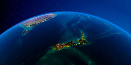 Planet Earth with detailed exaggerated relief at night lit by the lights of cities. New Zealand. 3D rendering.