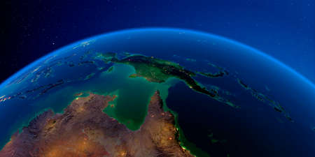 Planet Earth with detailed exaggerated relief at night lit by the lights of cities. Australia and Papua New Guinea. 3D rendering. Stock fotó