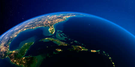 Planet Earth with detailed exaggerated relief at night lit by the lights of cities. Caribbean islands. Cuba, Haiti, Jamaica. 3D rendering.