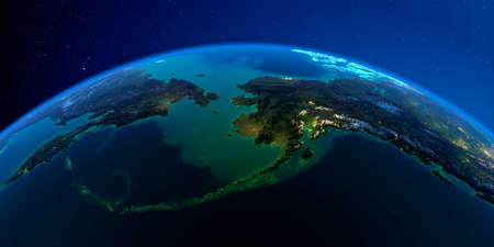 Planet Earth with detailed exaggerated relief at night lit by the lights of cities. Chukotka, Alaska and the Bering Strait. 3D rendering.
