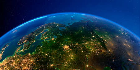 Planet Earth with detailed exaggerated relief at night lit by the lights of cities. European part of Russia. 3D rendering.