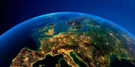 Planet Earth with detailed exaggerated relief at night lit by the lights of cities. Central Europe. 3D rendering. Stock fotó
