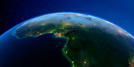 Planeta Tierra con relieve exagerado detallado en la noche iluminada por las luces de las ciudades. África. Países del Golfo de Guinea. Representación 3D.