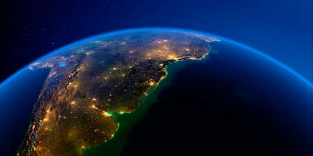 Planet Earth with detailed exaggerated relief at night lit by the lights of cities. South America. Rio de La Plata. 3D rendering. Stock fotó