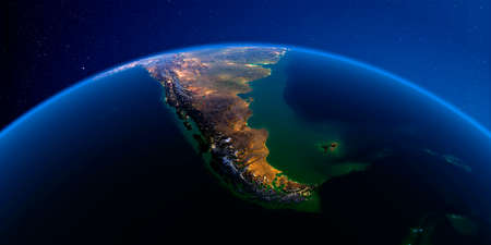 Planet Earth with detailed exaggerated relief at night lit by the lights of cities. South America. Tierra del Fuego. 3D rendering.