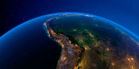 Planet Earth with detailed exaggerated relief at night lit by the lights of cities. Central America. Bolivia, Peru, Brazil. 3D rendering.
