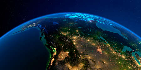 Planet Earth with detailed exaggerated relief at night lit by the lights of cities. Western and Northern Canada - British Columbia, Alberta and other provinces.