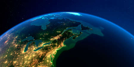 Planet Earth with detailed exaggerated relief at night lit by the lights of cities. Northeast US and Eastern Canada. 3D rendering.