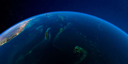 Planet Earth with detailed exaggerated relief at night lit by the lights of cities. South Pacific. Fiji, New Caledonia, Solomon Islands.