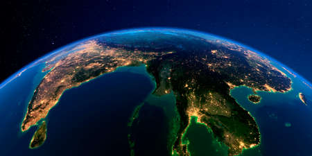 Planet Earth with detailed exaggerated relief at night lit by the lights of cities. The eastern part of India, Bangladesh, Nepal, Bhutan, Myanmar, west of Thailand.