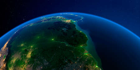 Planet Earth with detailed exaggerated relief at night lit by the lights of cities. South America. Brazil, Guyana, Suriname, French Guiana.
