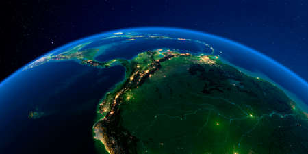 Planet Earth with detailed exaggerated relief at night lit by the lights of cities. The western part of South America. Peru, Ecuador, Colombia, Venezuela and part of Brazil.