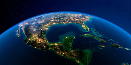 Planet Earth with detailed exaggerated relief at night lit by the lights of cities. North America. Gulf of Mexico. Stock fotó