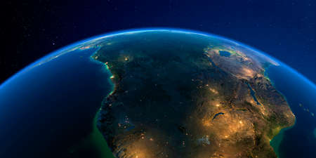 Planet Earth with detailed exaggerated relief at night lit by the lights of cities. Southern Africa Angola and Congo.
