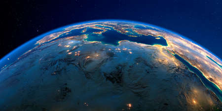 Planet Earth with detailed exaggerated relief at night lit by the lights of cities. North Africa. Libya and the Mediterranean Sea.