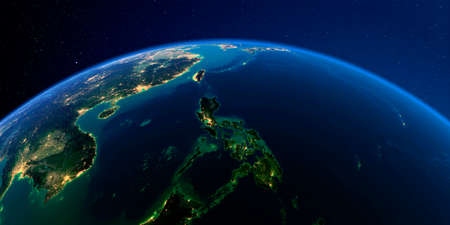 Pianeta Terra con rilievo esagerato dettagliato di notte illuminato dalle luci delle città. Terra. Sud-est asiatico. Filippine. Archivio Fotografico