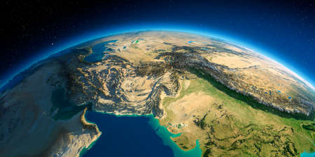 Highly detailed planet Earth. Exaggerated precise relief lit morning sun. South Asia. Pakistan, Afghanistan, India.