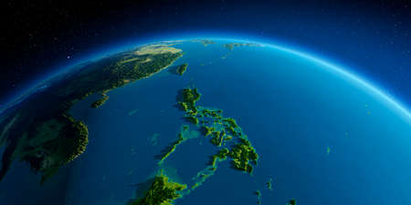 Highly detailed planet Earth. Exaggerated precise relief lit morning sun. Southeast Asia. Philippines. Stock fotó
