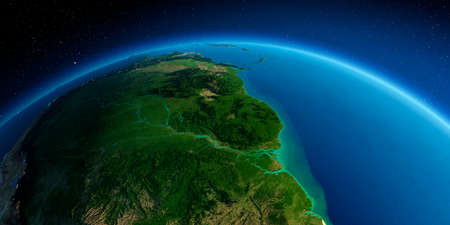 Highly detailed planet Earth. Exaggerated precise relief lit morning sun. South America. Brazil, Guyana, Suriname, French Guiana.