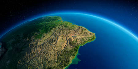 Highly detailed planet Earth. Exaggerated precise relief lit morning sun. The eastern part of South America. Brazil.