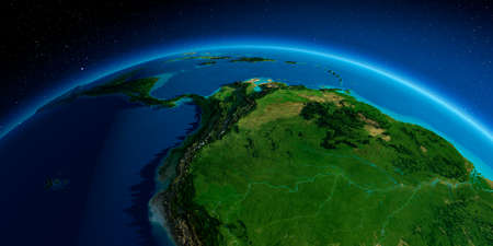 Highly detailed planet Earth. Exaggerated precise relief lit morning sun. South America. Peru, Ecuador, Colombia, Venezuela and part of Brazil.