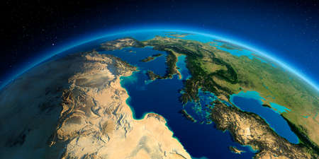 Highly detailed planet Earth. Exaggerated precise relief lit morning sun. Africa and Europe. The waters of the Mediterranean Sea.