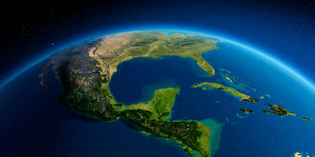 Highly detailed planet Earth. Exaggerated precise relief lit morning sun. South America. North America. Gulf of Mexico. Stock fotó