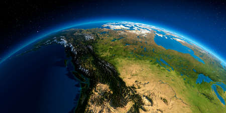 Highly detailed planet Earth in the morning. Exaggerated precise relief lit morning sun. Western and Northern Canada - British Columbia, Alberta and other provinces. Stock fotó