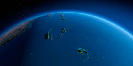 Highly detailed planet Earth in the morning. Exaggerated precise relief lit morning sun. South Pacific. Fiji, New Caledonia, Solomon Islands.