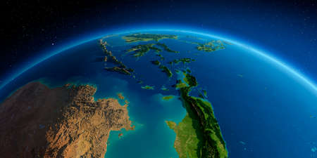 Highly detailed planet Earth in the morning. Exaggerated precise relief lit morning sun.  Southeast Asia. Indonesia.
