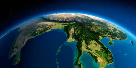 Highly detailed planet Earth in the morning. Exaggerated precise relief lit morning sun. The eastern part of India, Bangladesh, Nepal, Bhutan, Myanmar, west of Thailand.