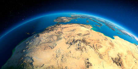 Highly detailed planet Earth. Exaggerated precise relief lit morning sun. North Africa. Algeria, Morocco and Tunisia.