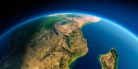 Pianeta Terra altamente dettagliato. Sollievo preciso esagerato illuminato dal sole mattutino. Africa dell'est. Mozambico, Tanzania, Kenya, Madagascar.