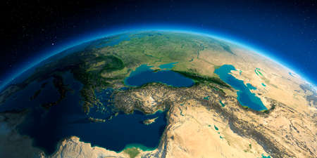 Highly detailed planet Earth. Exaggerated precise relief lit morning sun. Middle East countries. Stock fotó