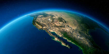 Highly detailed planet Earth with exaggerated relief illuminated by the evening sun. Gulf of California, Mexico and the western U.S. states.