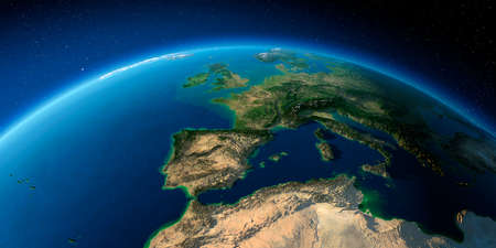 Highly detailed planet Earth with exaggerated relief illuminated by the evening sun. Part of Europe, the Mediterranean Sea. Stock fotó