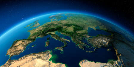 Highly detailed planet Earth with exaggerated relief illuminated by the evening sun. Italy, Greece and the Mediterranean Sea. Stock Photo