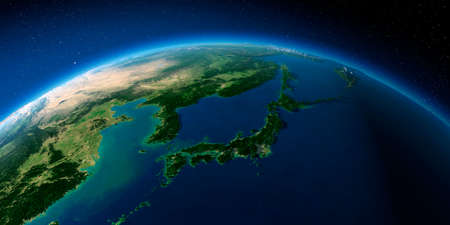 Highly detailed planet Earth with exaggerated relief illuminated by the evening sun. Japan and Korea. Stock Photo