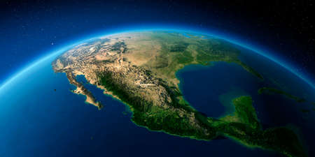 Highly detailed planet Earth with exaggerated relief illuminated by the evening sun. Mexico.