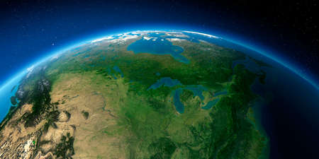 Highly detailed planet Earth with exaggerated relief illuminated by the evening sun. North America. United States and Canada. Great Lakes.