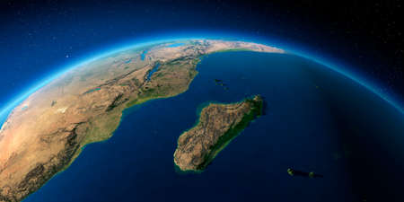 Highly detailed planet Earth with exaggerated relief illuminated by the evening sun. Africa and Madagascar. Stock Photo