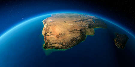 Highly detailed planet Earth with exaggerated relief illuminated by the evening sun. South Africa.
