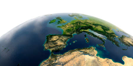 Highly detailed planet Earth with exaggerated relief and transparent oceans illuminated by sunlight. Part of Europe, the Mediterranean Sea. Stock fotó