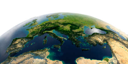 Highly detailed planet Earth with exaggerated relief and transparent oceans illuminated by sunlight. Europe. Mediterranean Sea. Stock fotó - 127289526