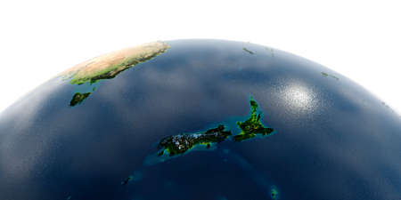 Highly detailed planet Earth with exaggerated relief and transparent oceans illuminated by sunlight. Part of the Pacific Ocean, New Zealand. Reklamní fotografie
