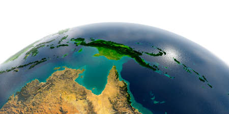 Highly detailed planet Earth with exaggerated relief and transparent oceans illuminated by sunlight. Australia and Papua New Guinea. Stock Photo