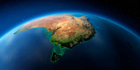 Highly detailed planet Earth with exaggerated relief illuminated by the evening sun. Australia and Tasmania.